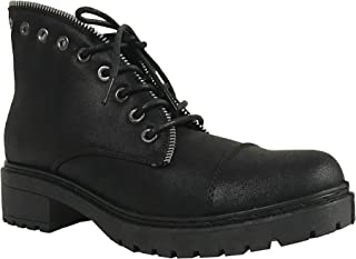 POSTAL-01A Women's Lace Up Zip Trim Low Heel Ankle Boots