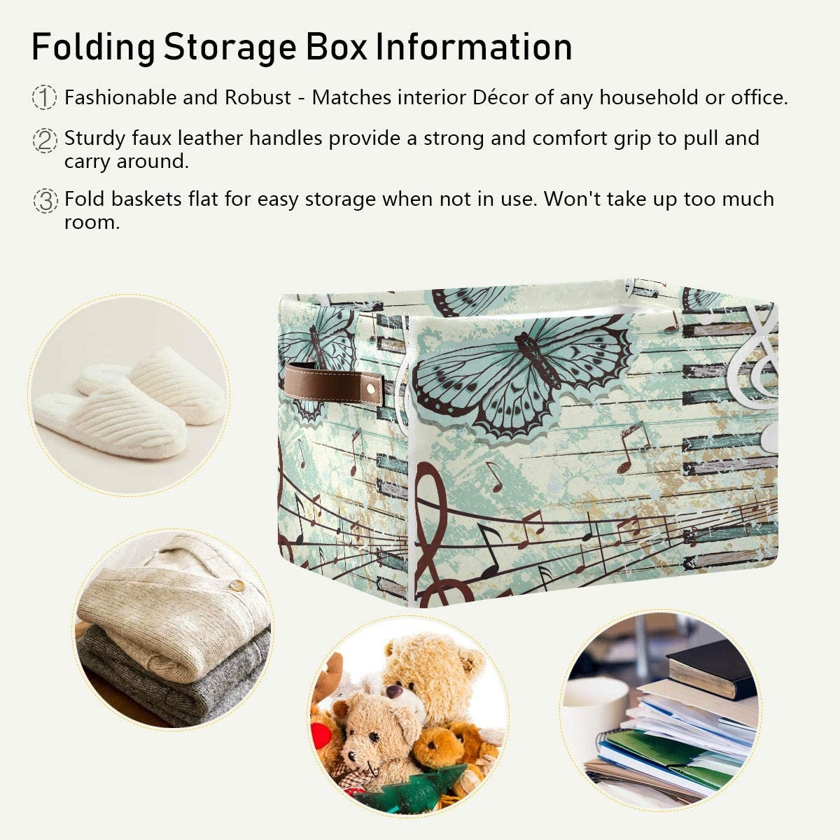 HMZXZ Rxyy Music Note Piano Key Butterfly Canvas Fabric Storage Basket Collapsible Toys Storage Bin with PU Leather Handles Basket Box Organizer for Wardrobe Closet Shelves Organiser