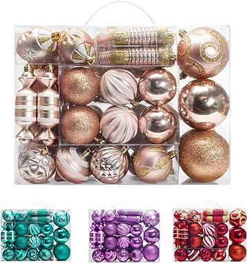 AMS 81ct Christmas Ball Assorted Pendant Shatterproof Ball Ornament Set Seasonal Decorations with Reusable Hand-Help Gift Box
