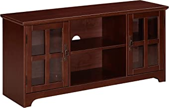 Ravenna Home Peterson Modern Glass Cabinet Storage TV Media Entertainment Console Stand, 46