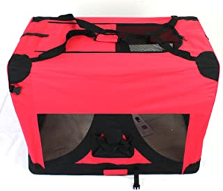 Pet Travel Carrier Soft Crate Portable Puppy Dog Cat Kitten Cage Kennel Home House Red (XL 80x58cm)