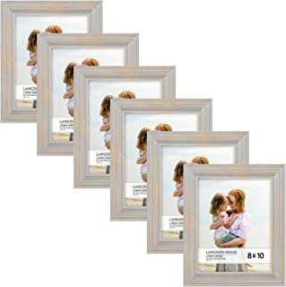 Langdon House 8x10 Real Wood Picture Frames (6 Pack, Gray - Gold Accents), Wooden Photo Frame 8 x 10, Wall Mount or Table Top, Set of 6 Lumina Collection