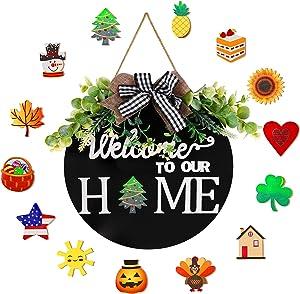 "Interchangeable Welcome Sign For Front Door Porch Wreaths 13"" Vertical Rustic Round Wooden Door Home Decorations Wall Farmhouse Hangers Housewarming Gift for Front Porch Home Decor Home sweet sign Black"