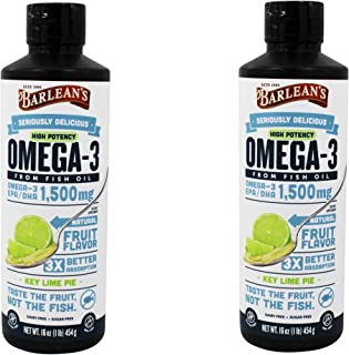 Barlean's Key Lime High Potency Omega 3, 16 Fluid Ounce, 2 Pack