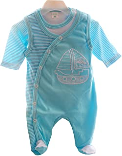 Malgosia Strampler & Body Baby Set Geringelt Türkis Kombination