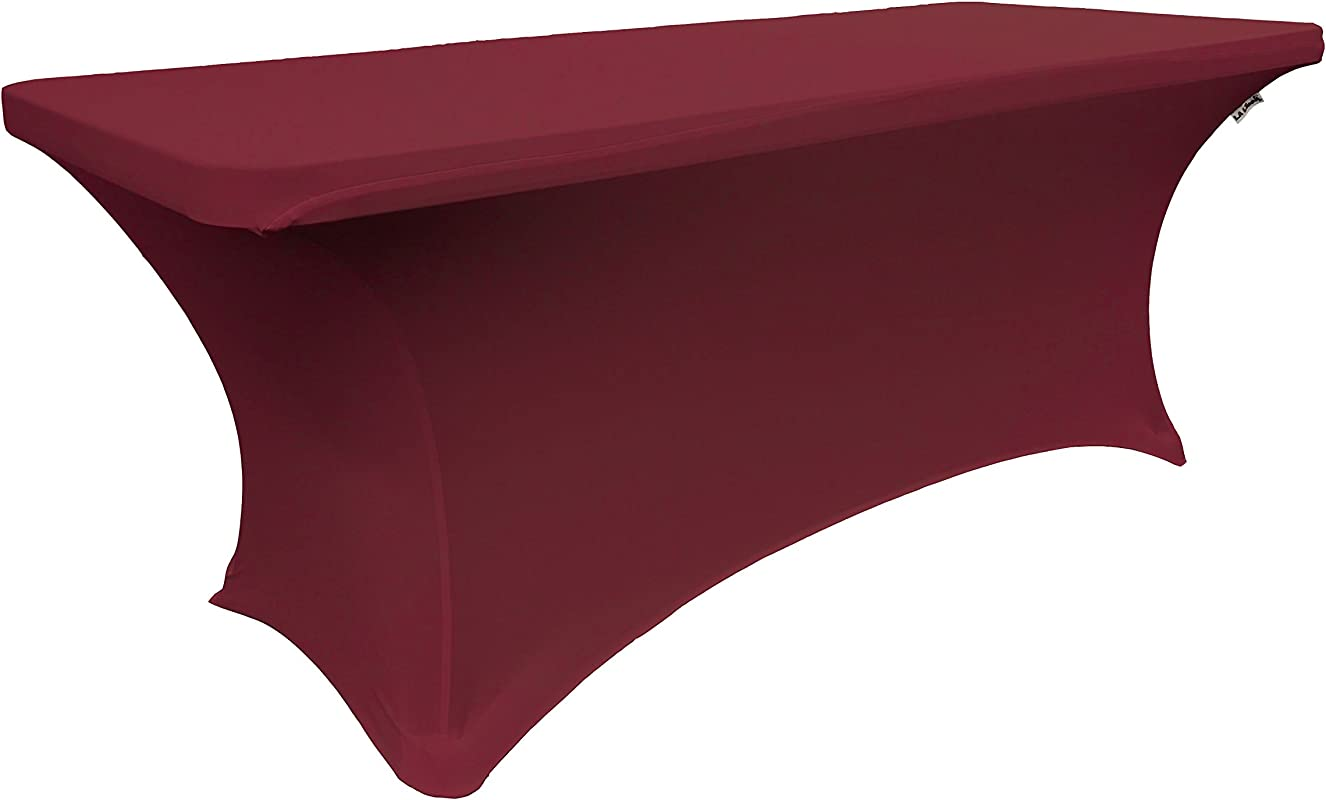 LA Linen Spandex Table Cloth For A 6 Feet Rectangular Table 72 By 30 By 30 Inch Burgundy