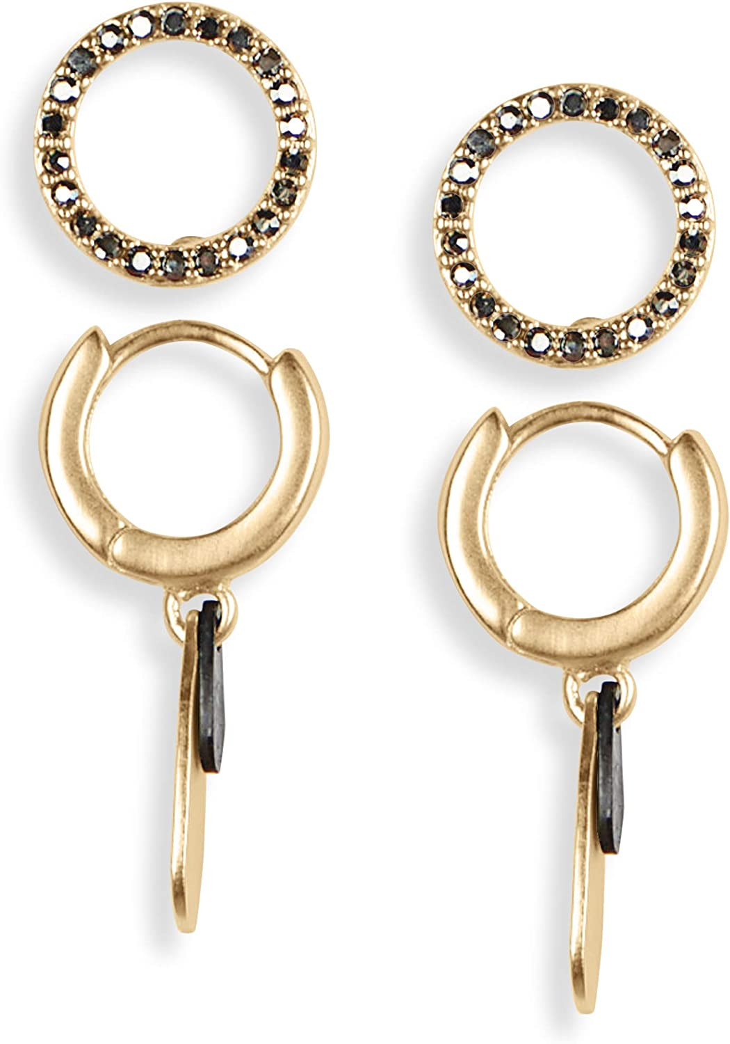 Lucky Brand Pave Circle Studs and Paddle Hoop Earring Set, Two Tone, One Size (JWEL4895)