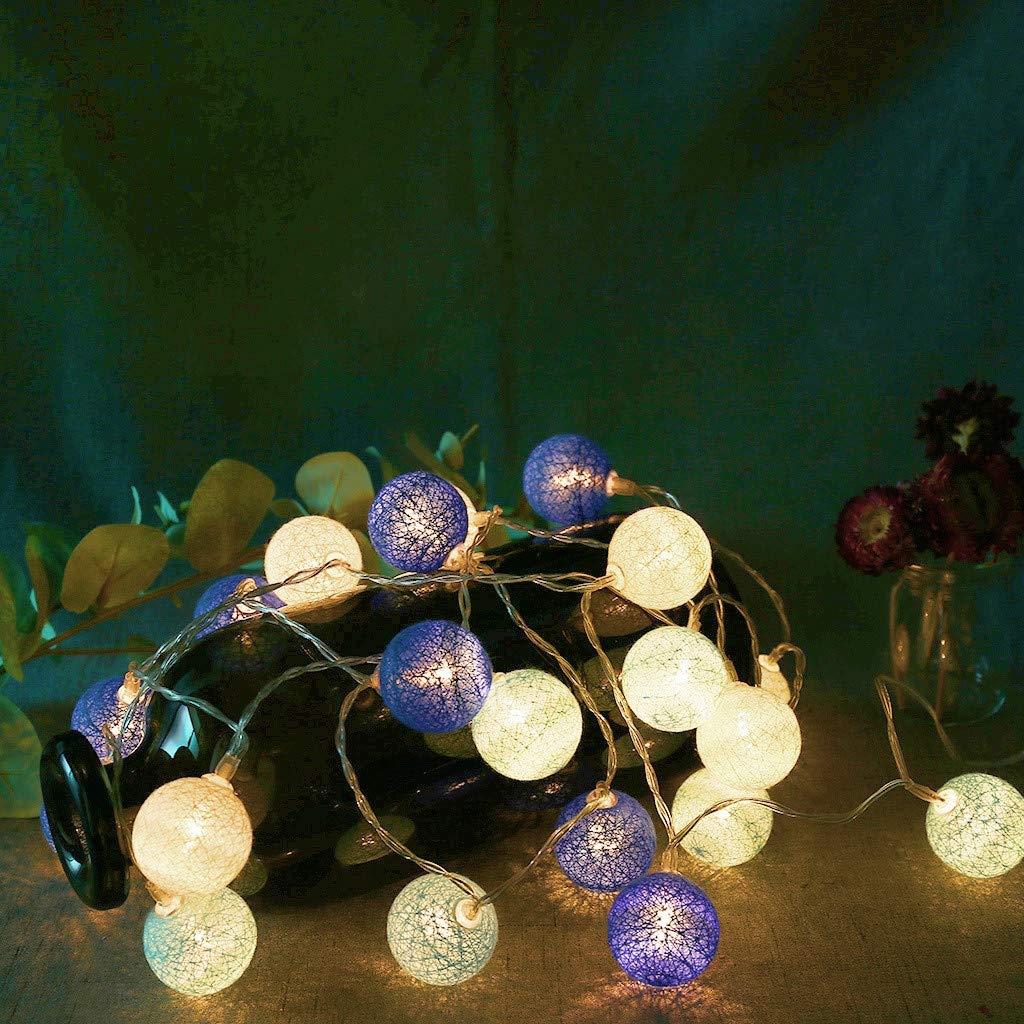 Guirnaldas luminosas con bolas de algodón creativas de 20 luces LED guirnaldas de hadas de algodón para decoración del hogar, multicolor: Amazon.es: Bricolaje y herramientas