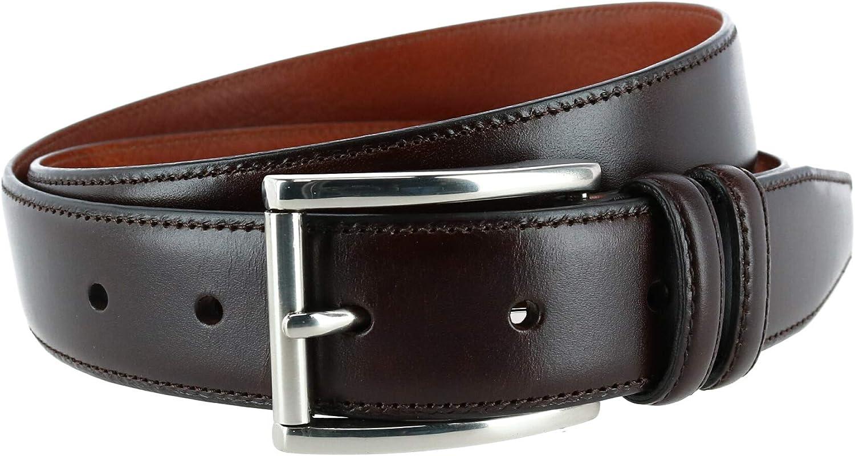 Trafalgar Men's Lorenzo 32mm Dropped Edge Leather Dress Belt