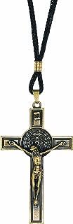 Intercession St Benedict Crucifix on Cord Necklace (Antique Gold)