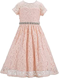 Bow Dream Bling Lace Flower Girl Dress Sequins Bridesmaid Party Formal
