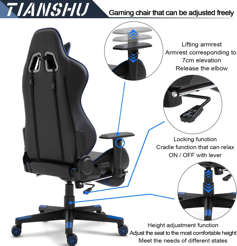 TIANSHU Chaise Gaming Chaise de Bureau Siège Ergonomique Accoudoir Réglable Cadre en Acier Angle d'inclinaison Réglable avec Repose-Pieds Rembourré,Orange Bleu