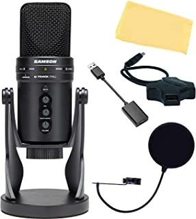 Samson G Track Pro Professional USB Microphone with Audio Interface Bundle with Pop Filter, USB Hub, USB-C Adapter, and Au...