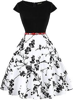 c121ffa6f1a7df MisShow Damen Rockabilly Petticoat Kleider Audrey Hepburn Vintage Kleid  Rund-Ausschnitt Kurz Arm Festliches Kleid