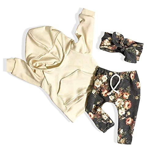 ed56a7cf3d7 Newborn Baby Girls Clothes Long Sleeve Hoodie Shirt Top Floral Pants with  Headband 3Pcs Outfit Sets