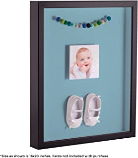 ArtToFrames 20 x 24 Inch Shadow Box Picture Frame, with a Satin Black 1'' Shadowbox Frame and French Blue Mat