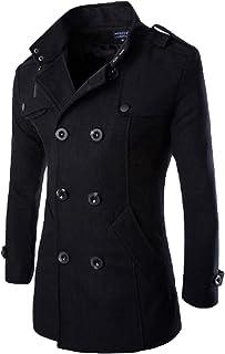 WSLCN casaco masculino elegante outono inverno transpassado