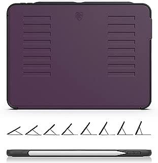 ZUGU CASE - iPad Pro 11 ケース 2018 The Muse Case Apple Pencil 収納可能 極薄 落下衝撃保護 8段階スタンド機能 便利なペンホルダー付き ワイヤレス充電対応 オートスリープ スマートカバー (パープル)