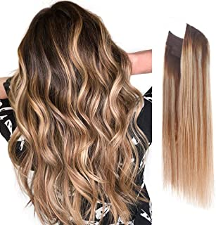Vanalia Premium Remy Human Hair Halo Hair Extensions, Honey Blonde with Platinum Blonde Highlights with Walnut Brown Root,...
