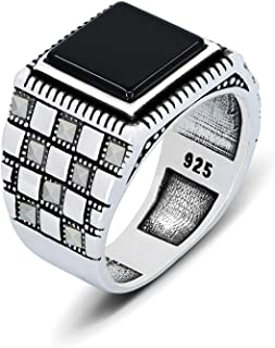 chimoda Turkish Handmade Men's Ring 925 Sterling Silver with Black Onyx and Marcasite Stones | Mens Jewelry Fashion Ring