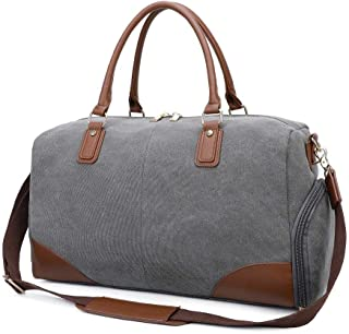 Gimay Weekend Travel Bag Women Overnight Duffle Canvas Tote Bags … (Grey)