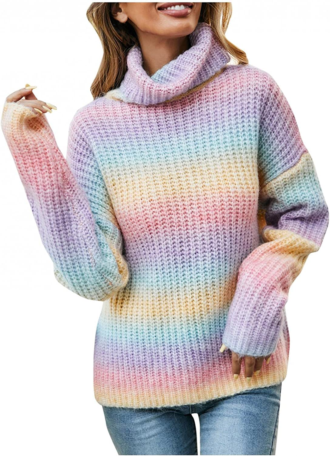 Ladies Autumn Winter Knitted Fashion Rainbow Pullover Sweater Button Loose Short Floral Print V-Neck Long Sleeve Sweater