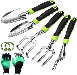 SPEEDWOX 6 Pcs Garden Tool Set Heavy Duty Gardening Tools Including Trowel Transplanter Cultivator Weeder Hand Fork Gloves...