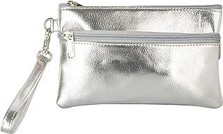 AspenLeather Women's Wristlet (Silver)