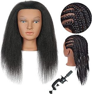 Sponsored Ad - Training Head Mannequin Head with Human Hair 14 Inch 100% Real Hair Manikin Head Cosmestology Doll Head Hai...