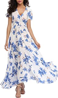 VintageClothing Women's Floral Maxi Dresses Boho Button...