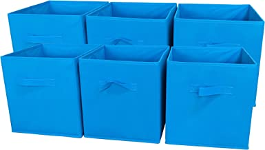 Sodynee Foldable Cloth Storage Cube Basket Bins Organizer Containers Drawers, 6 Pack, Ocean Blue