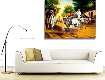 PAPER PLANE DESIGN PPD Canvas Painting - A Day in an Indian Village - Indian Canvas Art (15 inch x 23 inch)