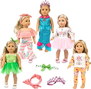 ZITA ELEMENT 11 Pcs Clothes Outfits for American 18 inch Girl Doll Cosplay - Unicorn Pattern Dress, Indian Style Pajamas, Strapless Clothes, Clover Skirt, Mermaid Outfits for 18 Inch Dolls