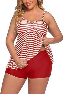 Avidlove Women Tankini Swimsuits Two Piece Bathing Suit with Shorts Retro Sailor Stripe Dot Tankini Set
