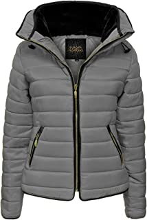 Love My Fashions® Mujer Parka Chaqueta Acolchada Puffer Burbuja with Faux Fur Fitted Collar Señoras Quilted Capucha Manga ...