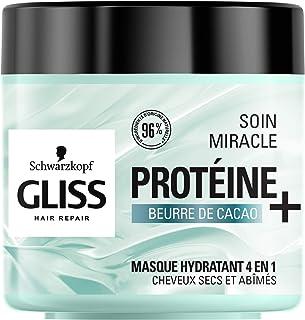 Schwarzkopf - Gliss - Masque Soin Miracle Hydratant 4 en 1 - Cheveux secs, abîmés - 96% d'ingrédients d'origine naturelle...