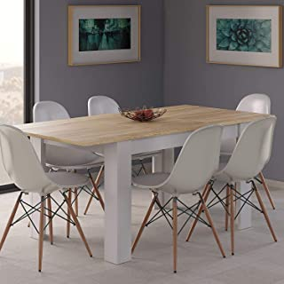 HABITMOBEL Conjunto 6 Sillas con Mesa de Comedor Extensible Medidas: 140-190 cm (Largo) x 90 cm (Ancho) x 78 cm (Alto)