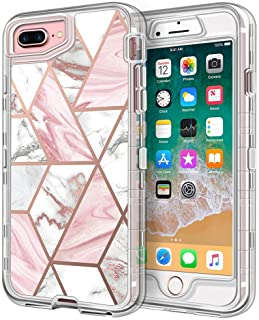 """iPhone 8 Plus Case, iPhone 7 Plus Case, Anuck 3 in 1 Heavy Duty Defender Shockproof Full-Body Protective Case Clear Hard PC Shell & Soft TPU Bumper Cover for iPhone 7 Plus/8 Plus 5.5"""" - Marble Design"""