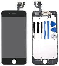 for iPhone 6 Digitizer Screen Replacement Black - Ayake 4.7'' Full LCD Display Assembly with Front Facing Camera, Earpiece Speaker Pre Assembled and Repair Tool Kits