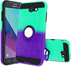 Atump Galaxy J7 2017/ J7 V/ J7 Prime/ J7 Perx/ J7 Sky Pro/Halo Case with HD Screen Protector, 360 Degree Rotating Ring Holder Kickstand Bracket Cover Phone Case for Samsung Galaxy J7V Mint/Purple