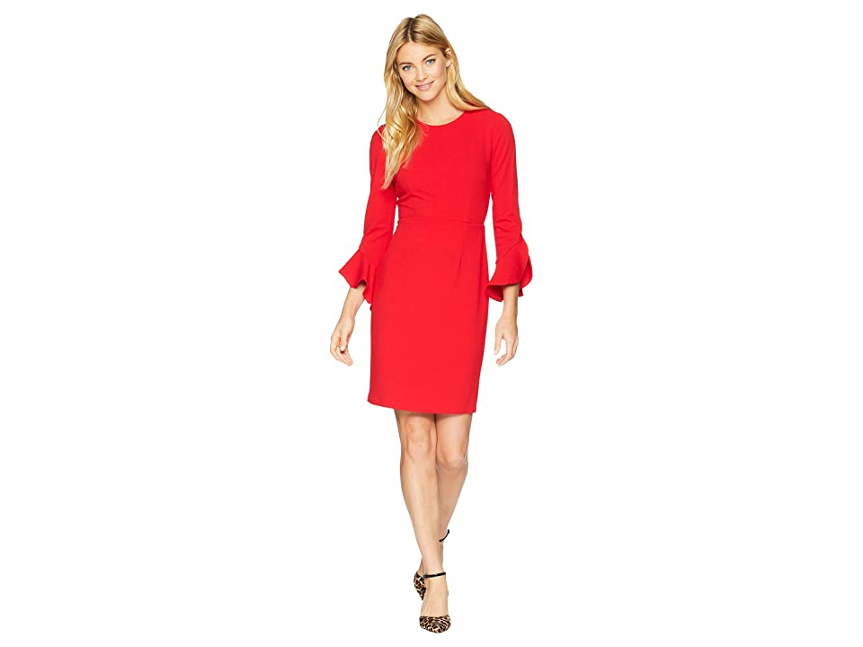Donna Morgan Sheath Dress with Flutter Sleeve (Red/Red) Women