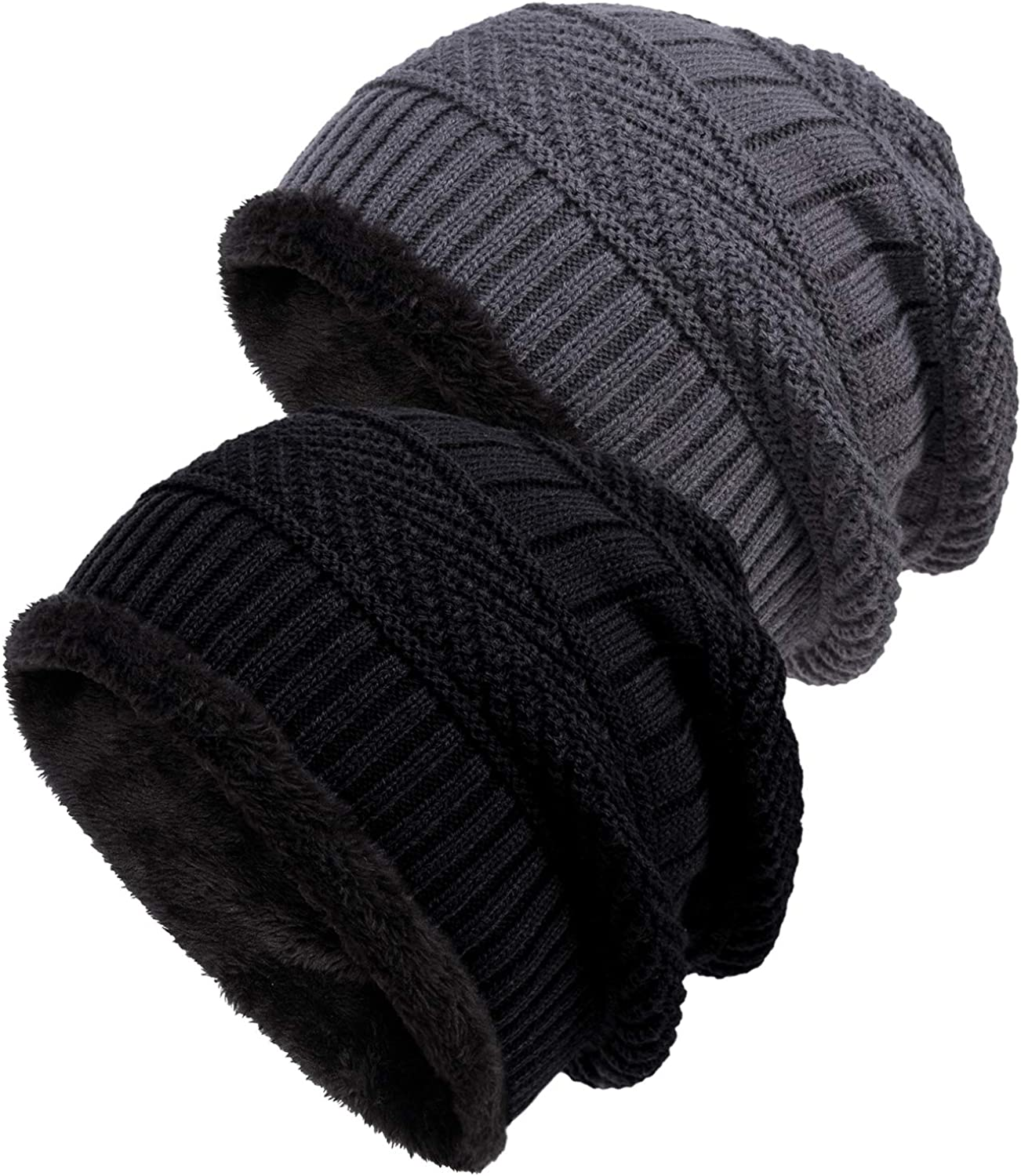 Loritta 2 Pack Winter Hat Knit Wool New color Warm Baggy Slouchy Thick 1 year warranty Sku