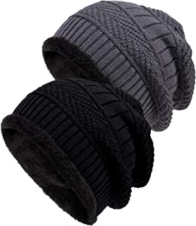 Loritta 2 Pack Winter Hat Warm Knitted Wool Thick Baggy Slouchy Beanie Skull Cap for Men Women Gifts