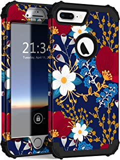 iPhone 8 Plus Case, iPhone 7 Plus Case, Hocase Heavy Duty Shockproof Protection Hard Plastic+Silicone Rubber Hybrid Protective Case for iPhone 7 Plus/iPhone 8 Plus - Creative Flowers