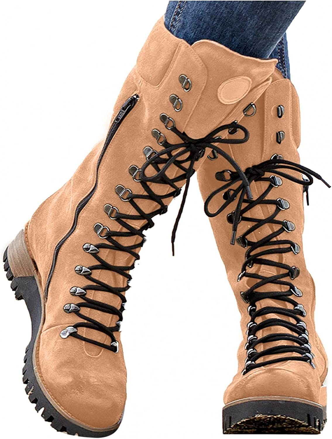 Hbeylia Platform Combat Boots For Women Fashion Vintage Punk Lace Up Mid Calf Boots With Side Zip Retro Wedge Chunky Mid Heels Cowboys Motorcycle Knight Riding Tall Boots For Ladies Winter Shoes