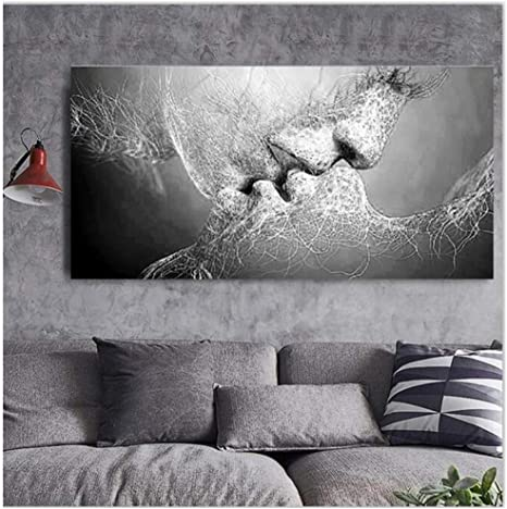 Hot Black/&White Home Room Decor Love Kiss Abstract Painting Wall Picture Canvas