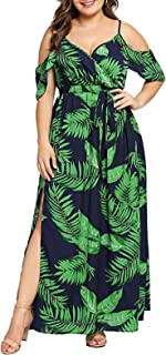 Women's Plus Size Cold Shoulder Floral Slit Hem Tropical...