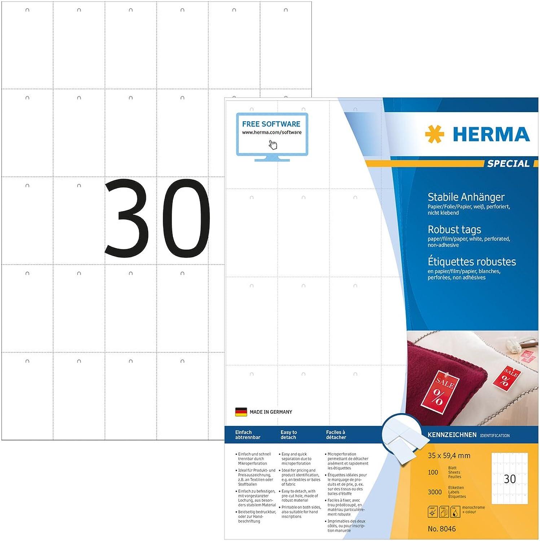 Herma 8046 Hänge Etiketten reißfest (35 x 59,4 mm) weiß, 3.000 Warenanhänger, 100 Bogen DIN A4 Papier-Folie-Papier-Verbund, Anhänger nicht klebend, perforiert, bedruckbar B00BAWN9B4    Genial
