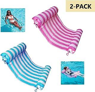 AIWAN LEZHI 2-Pack(Pink,Blue) Premium Swimming Pool Float Hammock, Comfortable Inflatable Swimming Pools Lounger, Water Hammock Lounge