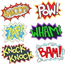 Superhero Party Cardboard Superhero Sounds Sayings Word Cutouts ( 6 different pcs in 1), 16,5''x 11'' per word, BAM POW WHAM ZAP KABOOM KNOCK-KNOCK, Superhero theme birthday supplies